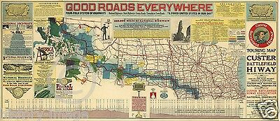 1925 Auto Touring Road Map Custer Battlefield Highway