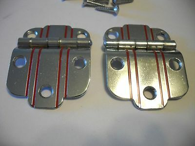 "VTG NOS CHROME Cabinet Door Hinges RED Lines 3/8"" Offset Art Deco National Lock"
