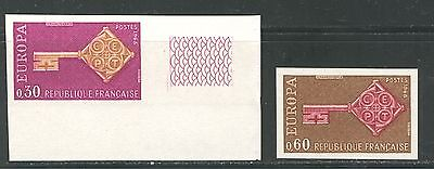 EUROPA CEPT ON FRANCE 1968 Scott 1209-1210, IMPERFORATE, MNH