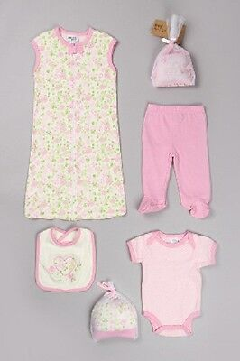 NEW Girls 0-3 3-6 Months Chick Pea by Cutie Pie 7 Piece Set Bodysuit Pants Gown