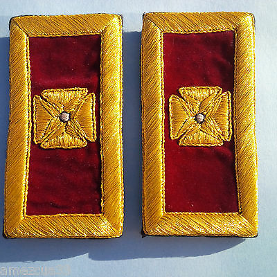 Past Grand Commander Shoulder Straps Golden Mylar Templar