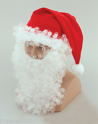 Adult Father Christmas Santa Suit Red Hat with White Wig Beard and Eyebrows Set