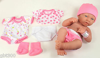 "La Newborn Real Life Baby Girl Doll Set IN STOCK 14"" Lifelike Looking w/Layette"