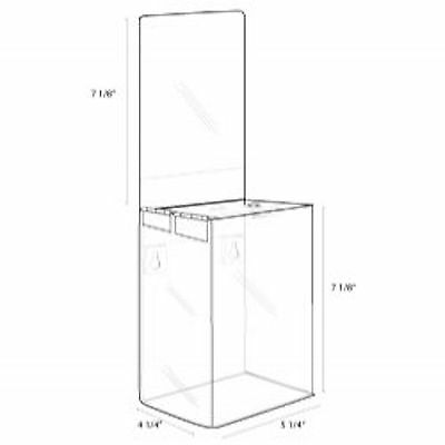 5x7x4 Clear Acrylic Locking Ballot Box and Header    Lot of 6     DS-SBB-574-6