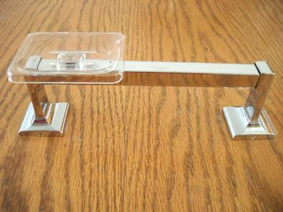 Very RARE Vtg NOS Chrome Grab Rail Towel Bar Clear Soap Dish Combo Hall-Mack