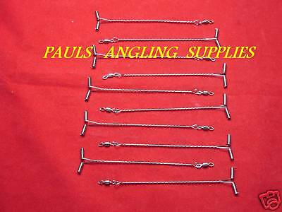 10 X 20cm STAINLESS T-ARM  WIRE SKELTOR STYLE PATERNOSTER BOOMS SEA FISHING