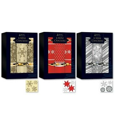 6 Mini Christmas Crackers Christmas Tree Crackers 3 Contemporary Designs
