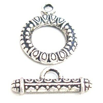 10 Sets of Tibetan antique Silver Alloy Round Toggle Clasps - A6385