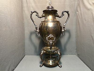ANTIQUE SHERIDAN SILVER ON BRASS SAMOVAR TAUNTON SILVERSMITH URN BOILER TEA POT