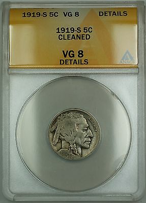 1919-S Buffalo Nickel 5c ANACS VG-8 Details Cleaned (Better Coin)