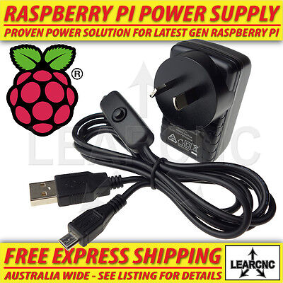 Raspberry Pi 3 2 Power Supply Adaptor 5V 2.5A 2500mA AU plug 20AWG USB Switch