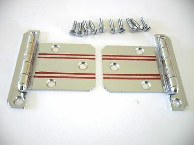 Vtg NOS CHROME HINGES RED Lines Stripes stair Stepped Corner Flush surface Mount