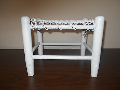 Antique Primitive  Wood Wooden Stool - Painted White