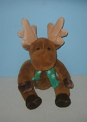 "12"" Christmas Moose Stuffed Plush Gift Card Holder w/ Snowflake Scarf"
