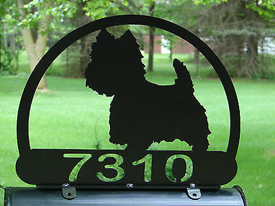 West Highland Terrier MAILBOX TOPPER Metal Address Sign Pet Personalized Westie