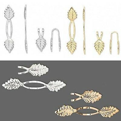 Lot of 100 Leaf Shaped Fold Over Glue On Y Style Bails Plated Brass Base Metal