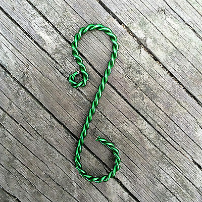 "Twisted Green Ornament Hooks, 2"" length"