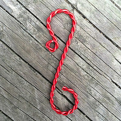 "Twisted Red Ornament Hooks, 2"" length"