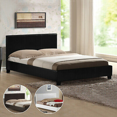 Bed Frame King Queen Double Single Size PU Leather Black Brown White Mondeo
