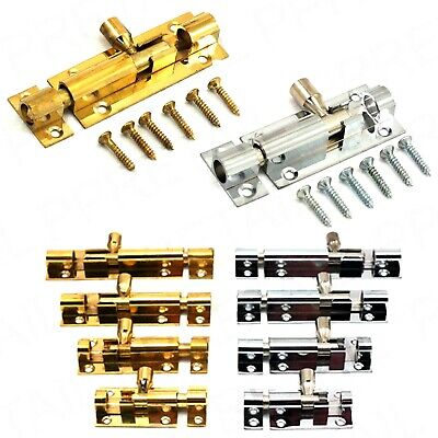 DOOR SLIDE BOLT CATCH CHOOSE: BRASS / CHROME Small - Large Bathroom Latch Lock
