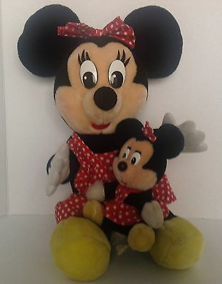 "Vintage Theme Park Disneyland 17"" Minnie Mouse and 8"" Minnie Mouse Plush Dolls"