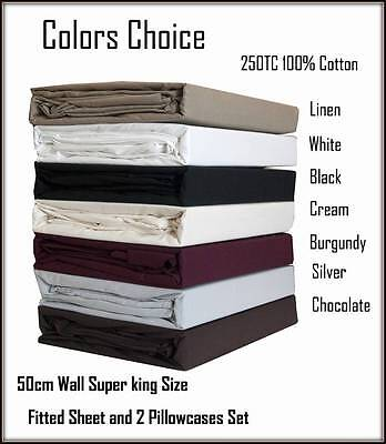 Deep Wall 50cm King Size Bed Fitted Sheet & 2 Pillowcases Set Color Choice