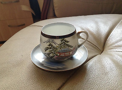 Rare old Chinese hand-painted porcelain coffee cup and saucer end of 19 – beginn