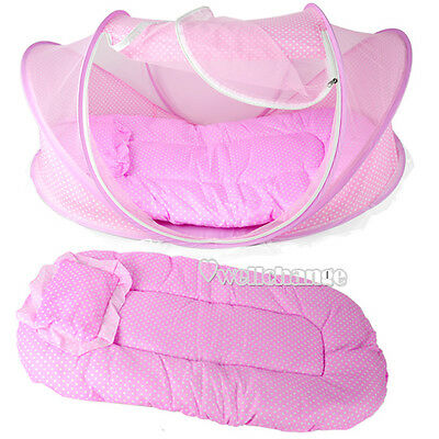 Baby Infant Bed Mosquito Net Cotton-padded Mattress Pillow Tent Foldable W3LE