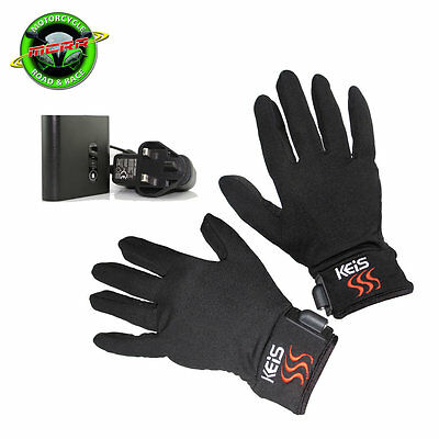 Keis Heated Inner Motorcycle Gloves + 2600mah lithium Ion Battery Pack & Charger