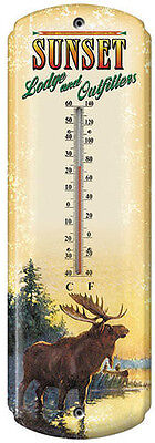 """Sunset Lodge & Outfitters /  Moose / Nostalgic Tin Thermometer 5 inch  x 17"""" NEW"""
