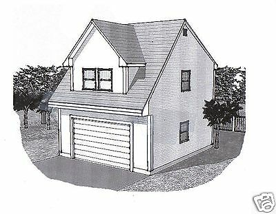 22x24 2 Car Carriage Garage Style A Building Blueprint Plans
