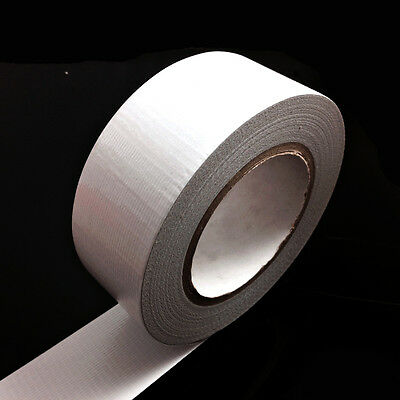 1, 50 METERS x 50mm WHITE GAFFER TAPE, CLOTH DUCK DUCT TAPES, GAFFA