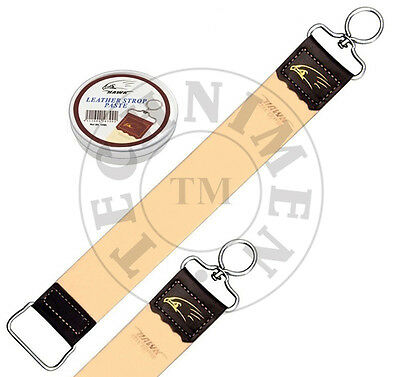 Leather Strop Coramelle For Sharpening Straight Cut Throat Shaving Razor & Paste