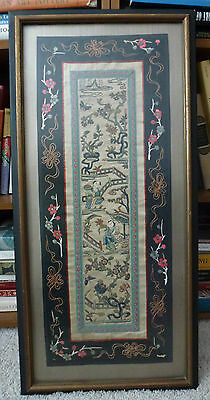 19thC Chinese Textile Framed Sleeve Band Panel Embroidered on Silk Satin