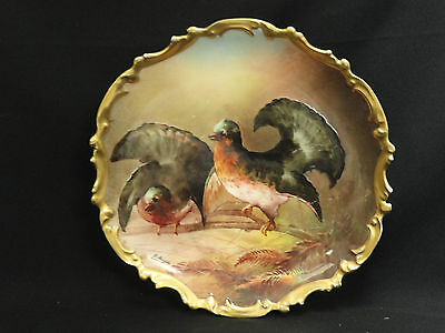 ANTIQUE 19c SIGNED HAND PAINTED LRI LIMOGES FRANCE GAME BIRD CHARGER PLAQUE 12.5