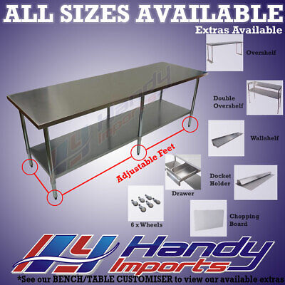 2438 x 610mm NEW 304 STAINLESS STEEL WORK BENCH KITCHEN FOOD PREP CATERING TABLE