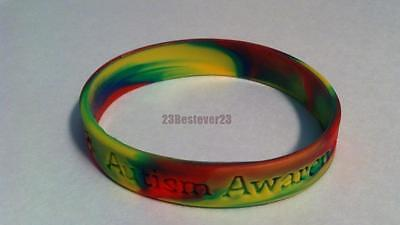 1 Autism Awareness Multi Colored Puzzle Pieces Silicone ADULT Bracelet Wristband