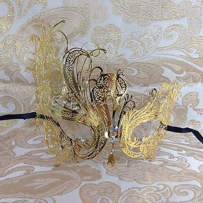 Beautiful Gold Swan Filigree Venetian Mardi Gras Masquerade Mask w/Rhinestones~