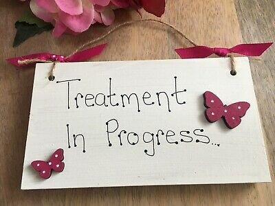 Personalised Wooden Beauty Salon 'Treatment in Progress' hanging butterfly sign