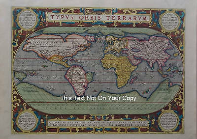 VINTAGE OLD COLOUR Color World Map by Abraham Ortelius 1570c Reproduction Plan