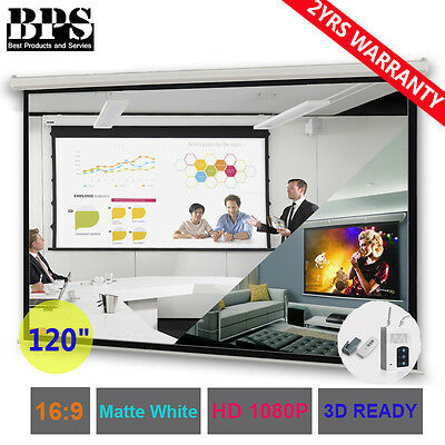 "BPS 120"" Electric Motorised Projector Screen Home Cinema 16:9 Projection Remote"