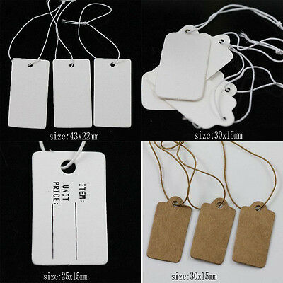 100/500Pcs Product Label Blank Elastic String White Kraft Paper Price Tags