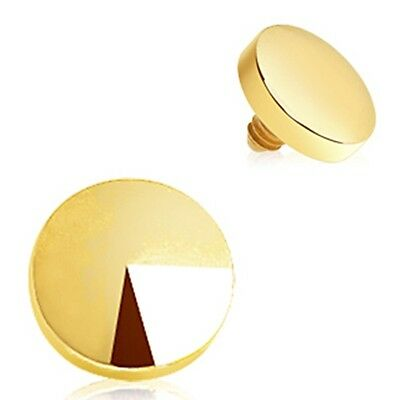 New Gold Plated 4mm Round Disc Dermal Anchor Top Head Surface Piercing 1.6mm