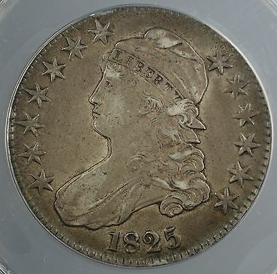 1825 Capped Bust Half Dollar 50c ANACS EF-45 Double Profile **Strike Variety**