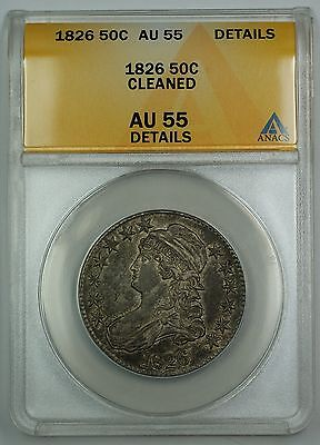 1826 Capped Bust Half Dollar 50c Coin ANACS AU-55 Details Cleaned (A)