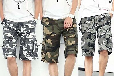 Mens Military Army Camouflage Woodland Work / Camp Shorts Cargo Pants 3 Colours