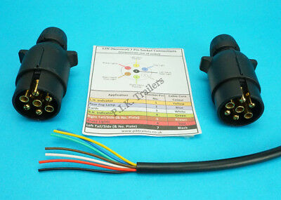 5 Metres 7 Core Cable with TWO 7 Pin 12N Plugs - Kit for Connecting Trailers