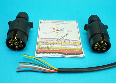 10 Metres 7 Core Cable with TWO 7 Pin 12N Plugs - Kit for Connecting Trailers