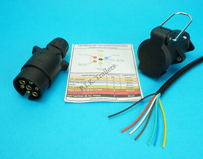 2 Metres 7 Core Cable & 7 Pin 12N Plug & Flying Socket Trailer Extension Kit