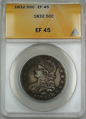 1832 Capped Bust Silver Half Dollar 50c Coin ANACS EF-45